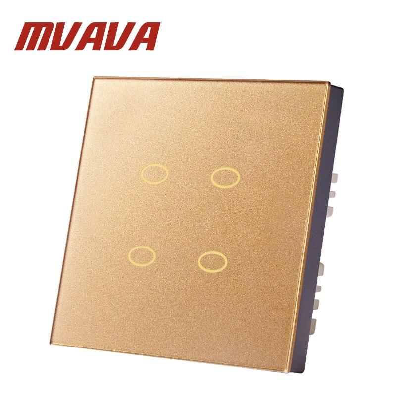 MVAVA Tactile Commutateur 4 Gang 2 Voies Or Rose Cristal En Verre Interrupteur Panneau Ignifuge Et Durable Mur Light Touch Commutateur