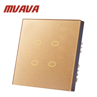 Mvava 2016 Touch Switch 4 Gang 2 Way Rose Gold Crystal Glass Switch Panel Fireproof And