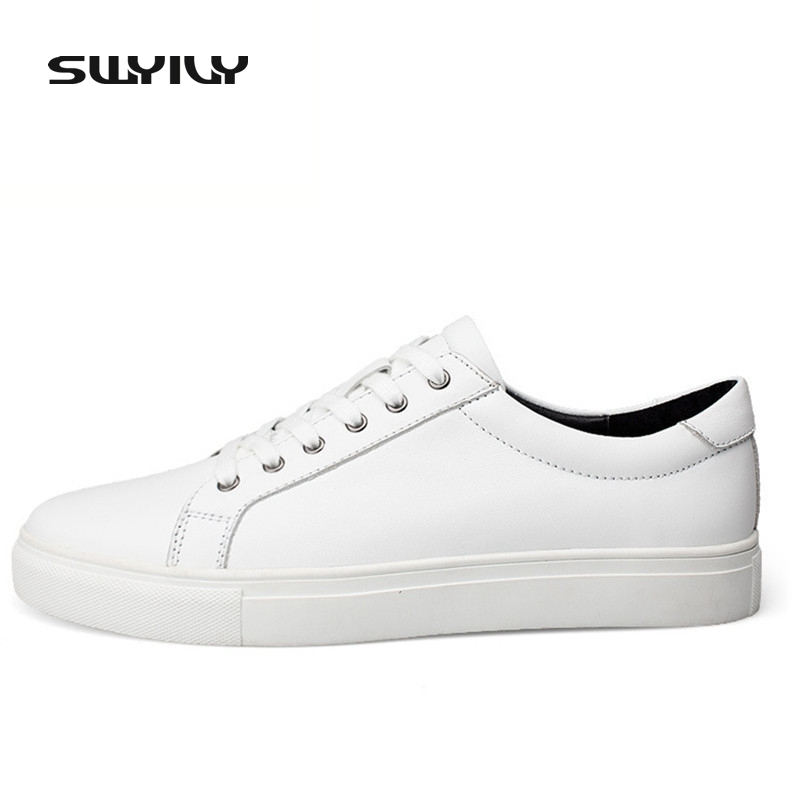 SWYIVY New Spring Autumn Genuine Leather Men Skateboarding Shoes White New Low-cut Lacing  Men Sneakers 37-48 Plus Size