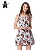 Achiewell Summer Casual Cute Women Sundress Abstract Floral Printed Round Neck Sleeveless A Line Yellow White