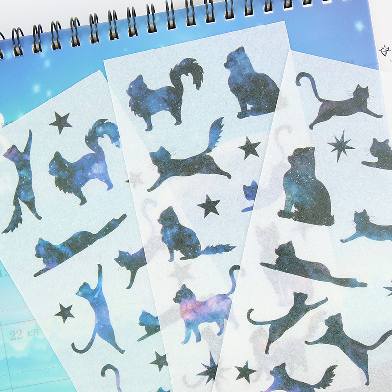 6pcs/lot Cute Sky Cats Cartoon Animals Decoration Sticker Pvc Cartoon Stickers Diary Sticker Scrapbook Stationery Stickers
