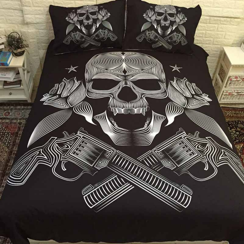 Best Quality Bedding Sets 3D Ride Die Bedding Set Halley Motorcycle Duvet Cover Pillowcase Red Rose Beauty Kiss Skull Duvet Cover Set Size US Queen