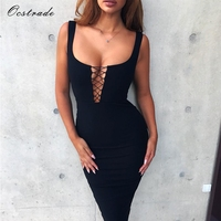 Ocstrade Black Sleeveless Bodycon Bandage Dress 2017 New Year Sexy Lace Up Womens Bandage Dresses High
