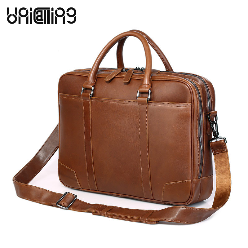 font b Laptop b font shoulder bag 15 inch genuine leather men business briefcase bag