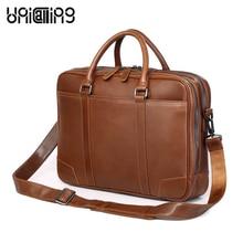 Laptop shoulder bag 15 inch genuine leather men business briefcase bag laptop messenger bag double zippers