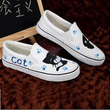 Personalized Hand-painted Shoes Cat Fish Wrapping Foot Pedal Platform Canvas Shoes Platform Shoes Women's Shoes Size EU34-43