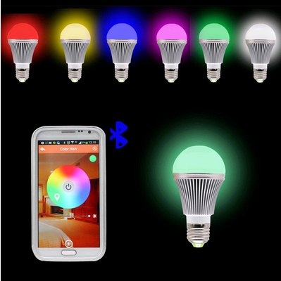 Wireless Smart Bluetooth LED Light Bulb,5w RGB dimmable Smartphone Remote Control  for IOS&Android Smartphone Controlled by APP