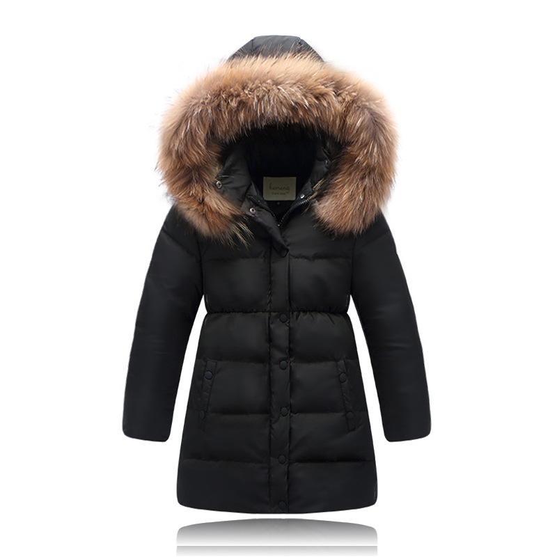 ead55550b32e Winter Girls Down Jackets Fur Collar Thick Warm Long Zipper Hooded White  Duck Down Coats Solid Outerwear Child Girls Clothes 14Y-in Down   Parkas  from ...