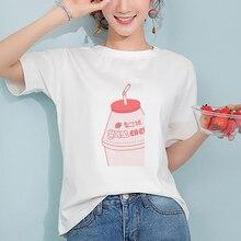 Korean Style Kawaii Strawberry Milk Cartoon Beverage Printed Tshirt Harajuku Pink Girlish Heart Ulzzang Kpop Women Streetwear
