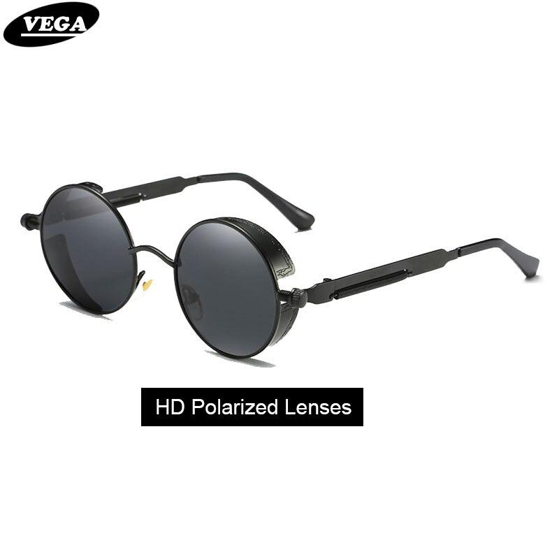 ada31de873 VEGA Polarized Steampunk Sunglasses Men Women Round Gothic Steam Punk  Goggle Metal Vintage HD Vision Sunglass 372
