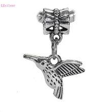 100pcs Antique Silver Hummingbird Songbird Birder Bird Charms Pendants Bead for European Style Bracelet 25mm x 17mm цены