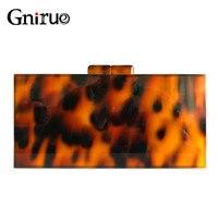 Sexy Leopard Pattern Acrylic Clutch Bag Retro Tortoiseshell Box Evening Bags Hard Women Shoulder Crossbody Chain