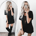 11 Colors Summer Plus Size Lace Up T-Shirt Dress Sexy Deep V Neck Half Sleeve Hollow Out Women Vestidos Night Club Party Dress