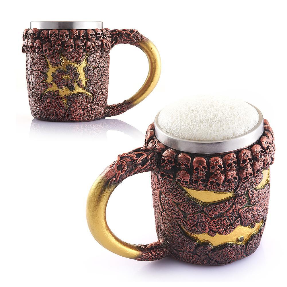 Coffee mugs unique - 1pc Resin Mug Halloween Coffee Mug Stainless Steel Lava Monster Drinking Mug 3d Horror Decor Coffee
