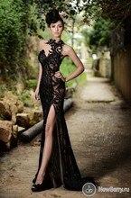 2016 heißer Verkauf Mermaid Abendkleider High Neck Lace Pailletten Schwarz Sexy Lange Partei-abschlussball-kleider F11125