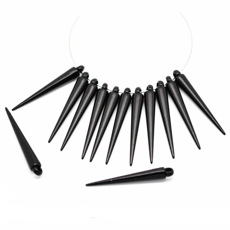 50Pcs Black Acrylic Spike Pendants Earrings DIY Making Jewelry Findings Charms 3.6x0.5cm