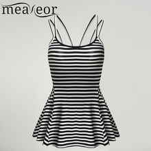 Meaneor Women Tops Sexy Summer Camis Polka Dot Leopard Striped Ladies Pois Striped Vest Pleated Hem Stretch Slim Tank Tops V