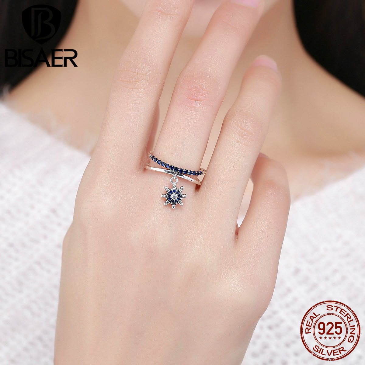 Authentic 100% 925 Sterling Silver Blue Clearly CZ Chic Anchor ...