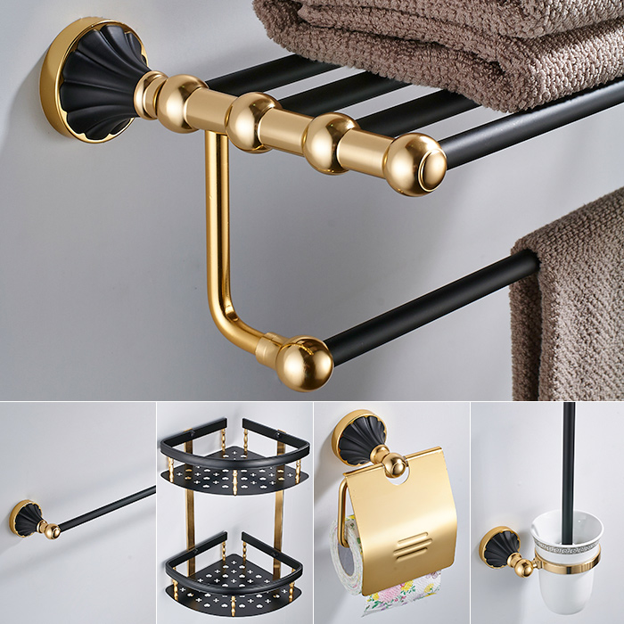 European-style Hole-free Towel Rack Modern Gold Jade Paper Rack Shelf Bathroom Hardware Bathroom Accessories Ym7 hot sale european style resin phoenix wine rack high end home accessories bar wine rack wholesale