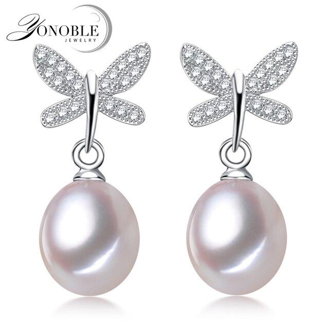 Реальная Пресноводная перла серьги женщин, природный жемчуг серьги серебро 925 свадьба изящных ювелирных изделий день рождения лучший подарок белая бабочка