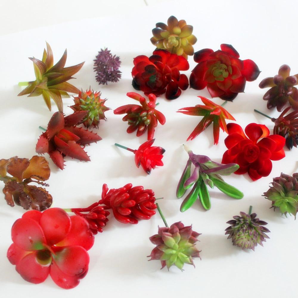 Keythemelife Simulation Succulent Lotus Lithops Red Series Ornaments Artificial Succulents Plants Garden Decor D