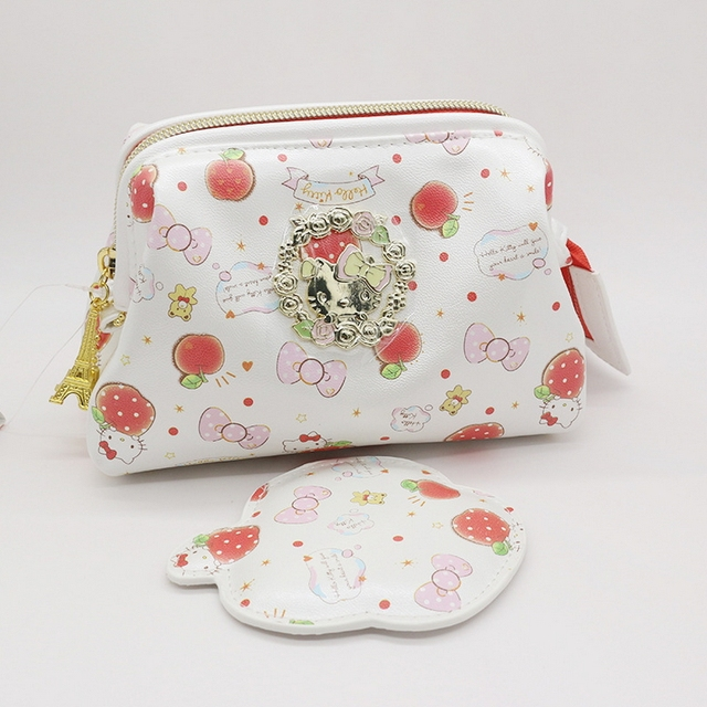 High quality PU hello kitty make up bag  cartoon traval cosmetic bag white color is very cute toiletry bag