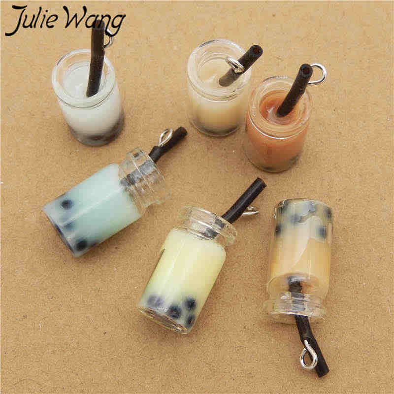 Julie Wang 6PCS Resin Fruit Juice Drink Milk Tea Charms Glass Bottle Artificial Food Pendants Necklace Jewelry Making Accessory
