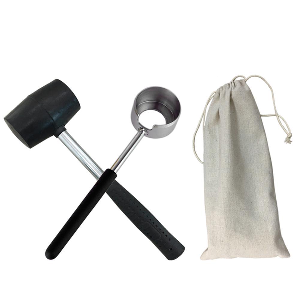Long Lasting Food Grade Practical Lightweight Coconut Opener Tool Set Handle Stainless Steel Opener With Wooden Mallet in Openers from Home Garden