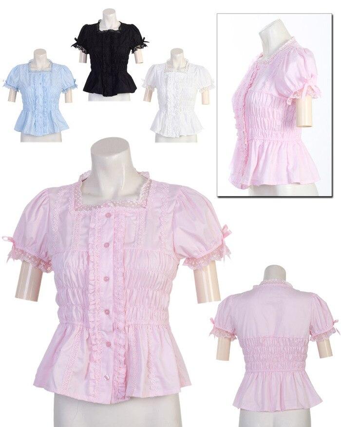 2017 Nouveau Modèle Chemisier Blanc Coton Lolita Chemise avec dentelle usage quotidien belle cotta personnaliser pour plus taille adultes et enfants