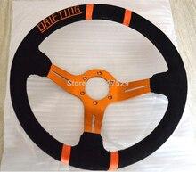 14inch MOMO Deep Corn Drifting Steering Wheel Genuine Suede Leather Steering wheels Sport Racing Hot