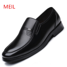 Size 38-48 2019 Black Men Leather Shoes Mens Dress Quality Formal Slip On Office Wedding Loafers Dad Shoe
