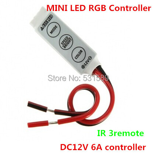 100 piezas nuevos productos MINI RGB LED controlador de DC12V 6A controlador IR 3 control remoto ¡Suministro para RGB módulo y tira! por DHL
