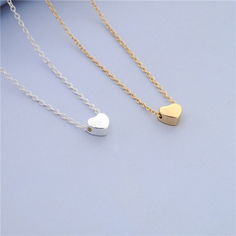 Good 30pcs/lot Simple Design Tiny Heart Necklace Tiny Thick Heart Neckace Cute  Sweet Gold/