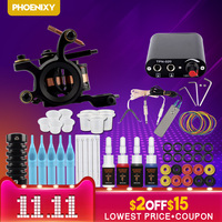 Complete Tattoo Machine Kit Set 1 Coils Guns 6 Colors Black Pigment Sets Power Tattoo Beginner Grips Kits Permanent Makeup