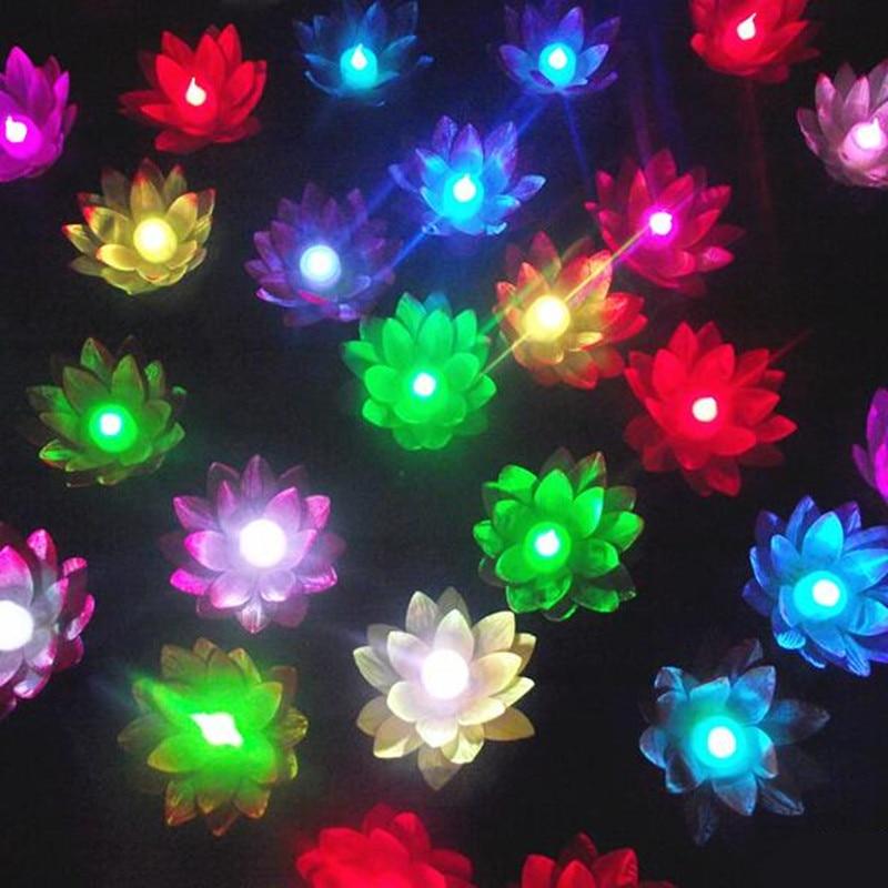 10pcs Change color electronic lotus lantern light floating pool decorations night Wishing Lamp outdoor lighting