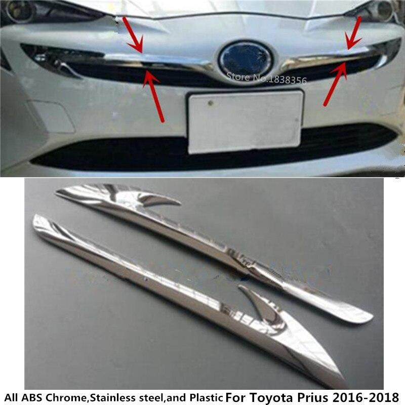 Для Toyota Prius 2016 2017 2018 автомобилей Гарнир ABS Chrome спереди двигатель машины решетка верхняя капюшон stick крышкой обрезки лампа 2 шт.