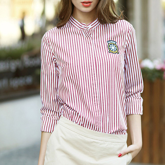 2015Ladies Striped Shirt New Fashion Stand Collar Long Sleeve Slim Red White Striped Blouses Women Tops Spring Plus Size XXL 3XL