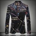 2015 Новых Осенью И Зимой Мужской Костюм Высокого Качества Алфавит Печать мужчины Blazer Певица Dancer Звезды Износа мужская куртка