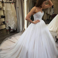 Charming Sweetheart Beaded Lace Bodice Ball Gown Wedding Dresses Backless Tulle vestido de noiva Bride Dress