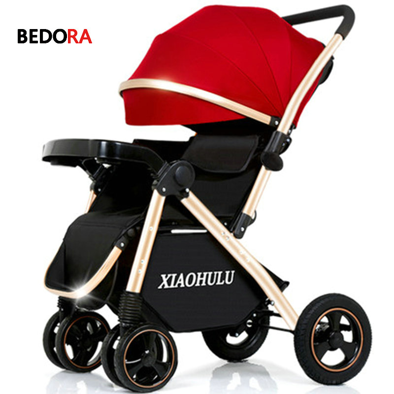Bedora baby stroller two way can sit reclining ultra light portable folding child four wheeled baby umbrella cart free shipping baby stroller ultra light portable shock absorbers bb child summer baby hadnd car umbrella