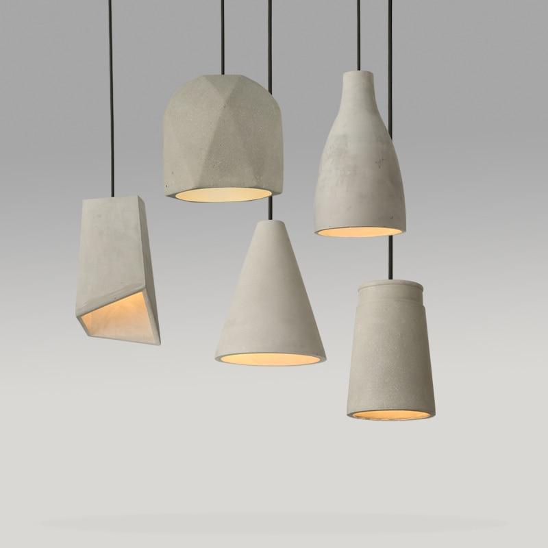 Cement lamp pendant lightsrestaurant Nordic art creative personality living room bedroom bedsid Selection of cement material SN8 art of war