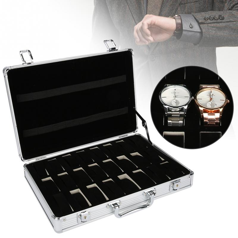 24 Grids Aluminum Alloy Suitcase Watch Display Storage Box Watch Organizer Case Makeup Kits Jewelry Ring Display Watch Case kundui suitcase women men travel bag thickening aluminum alloy laptop large toolbox lockable storage display box briefcase