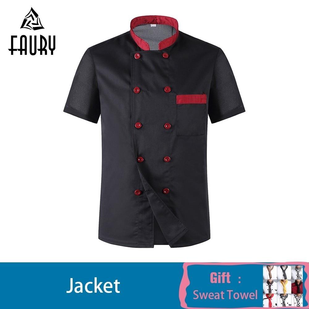 2019 Chef Jacket Food Service Uniform Short-sleeved Hotel Restaurant Chef Clothing Kitchen Barbershop Cook Shirt Free Scarf Gift