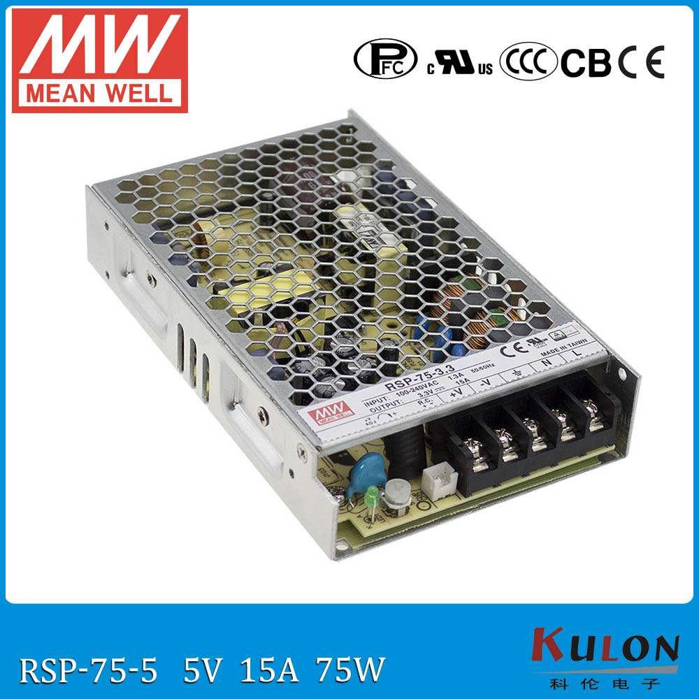 Original MEAN WELL RSP-75-5 Switching Power Supply 5V 15A 75W Meanwell ac-dc 5V power supply with PFC function meanwell 5v 130w ul certificated nes series switching power supply 85 264v ac to 5v dc