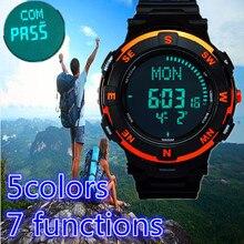 Luxury brand men women digital compass hiking led sports watches 50M waterproof women multiple time zone stop watch