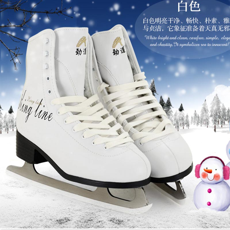 Original Jindao Ice Skate Tricks Shoes Adult Child Leather Ice Skates Professional Flower font b Knife