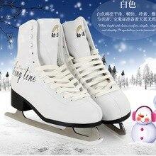 Original Jindao Trucos de Patín de Hielo Zapatos Hijo Adulto Patines De Hielo De Cuero Flor Profesional Cuchillo Cuchillo Hockey Patines de Hielo Real