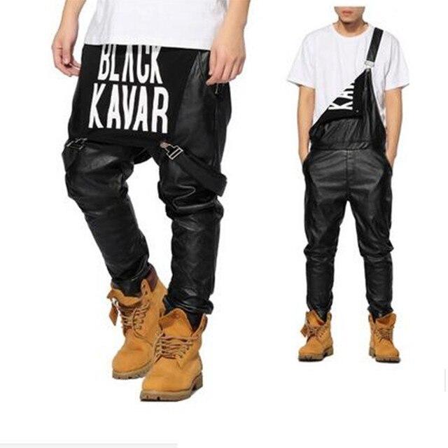 5b365621aa3 2018 Mens Fashion Jumpsuit Black PU BLACK KAVIAR Print Casual Leather Pant  Men Women Jogger Suspender Pants Hip Hop Pants Men-in Overalls from Men s  ...