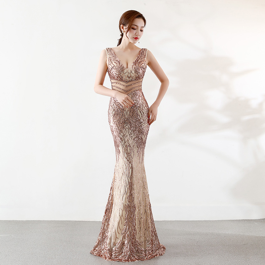 D180 luxe évider perles or rose sexy robe longue pailletée