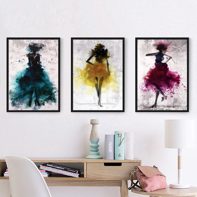 Watercolor Girls Canvas Art Wall Painting Colorful Beauty Fashion ...